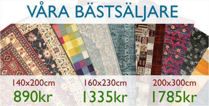 Fynda bland våra bästsäljare - Just nu: 140x200cm (890kr) / 160x230cm (1335kr) / 200x300cm (1785kr)