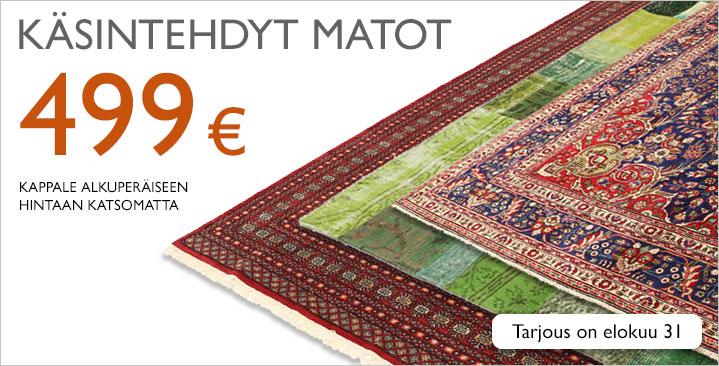 Valikoima käsintehtyjä mattoja 499 € kappale alkuperäiseen hintaan katsomatta!